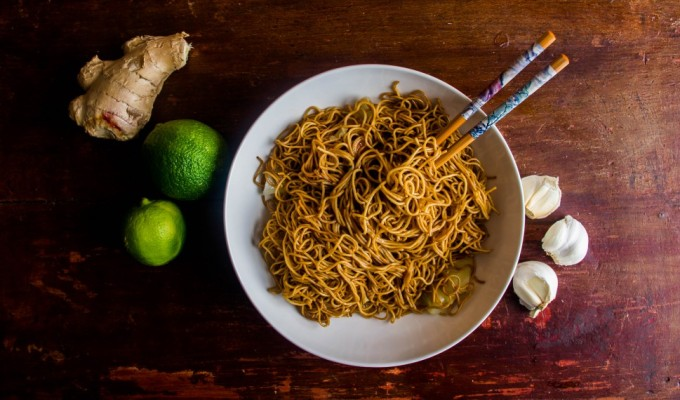Honey Garlic Ginger Noodles.