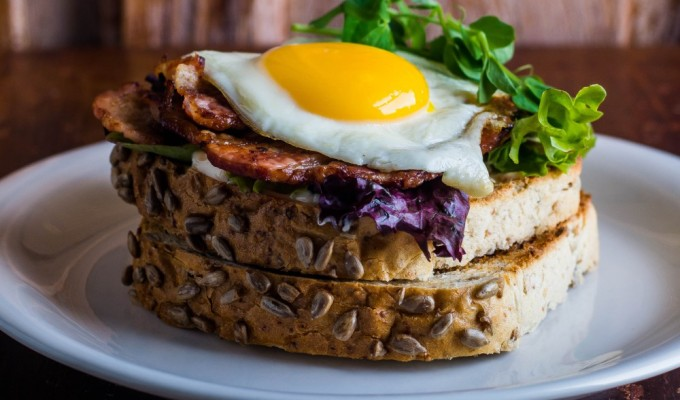 Whipped Maple Goats Cheese Breakfast Sandwich