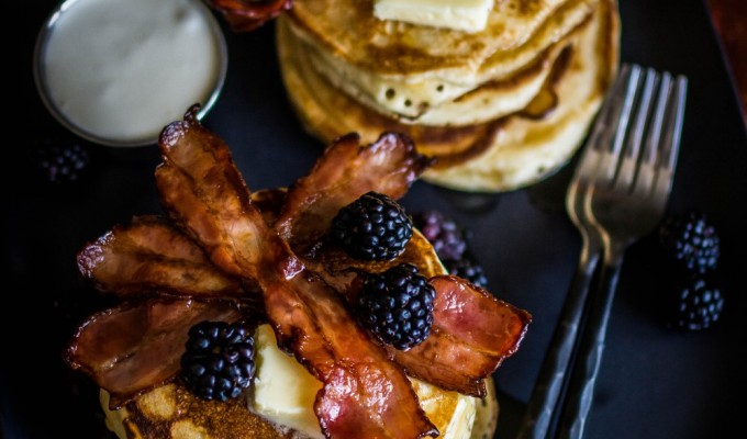 Blackberry Bacon Pancakes