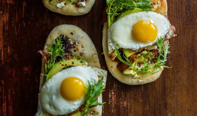 Breakfast Flatbread with Avocado, Feta, and CrispyProsciutto