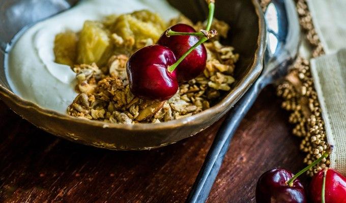 Maple Ginger Rhubarb with Greek Yoghurt &Cherries