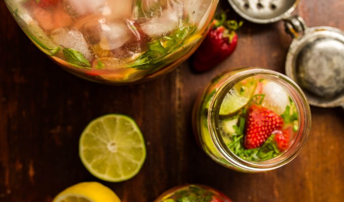 Watermelon Strawberry Basil Sangria