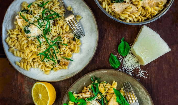 Roast Chicken Fusilli with Garlic Cream Sauce