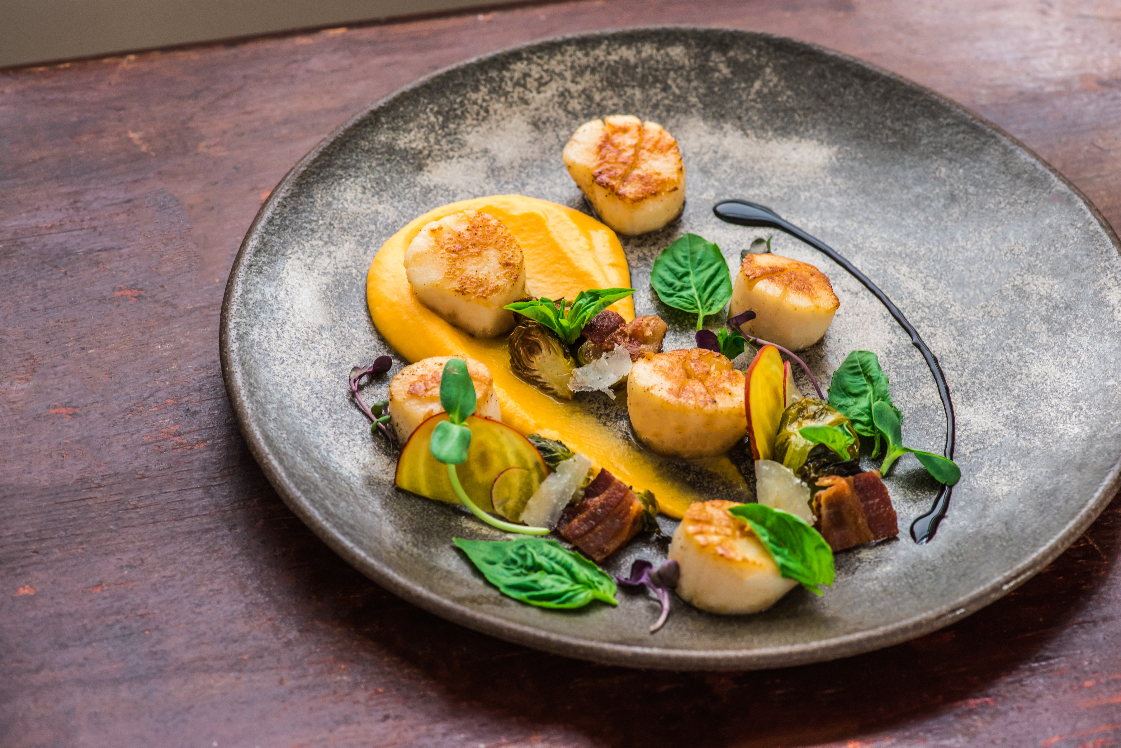 Seared scallops with sweet potato puree and maple bacon for What is sweet potato puree
