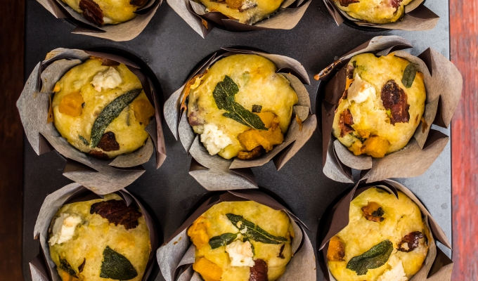 Roasted Butternut Squash Muffins with Feta & Sage