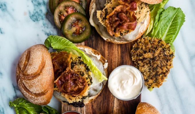 Provolone Pancetta Burgers with Parmesan Herb Crisps