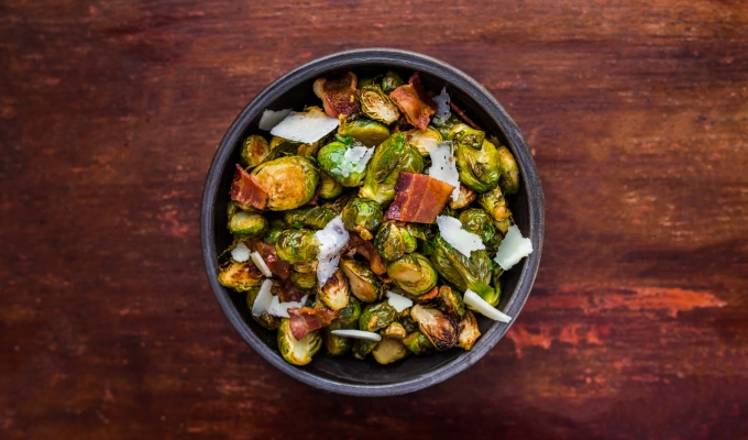 Roasted Bacon Parmesan Brussels Sprouts