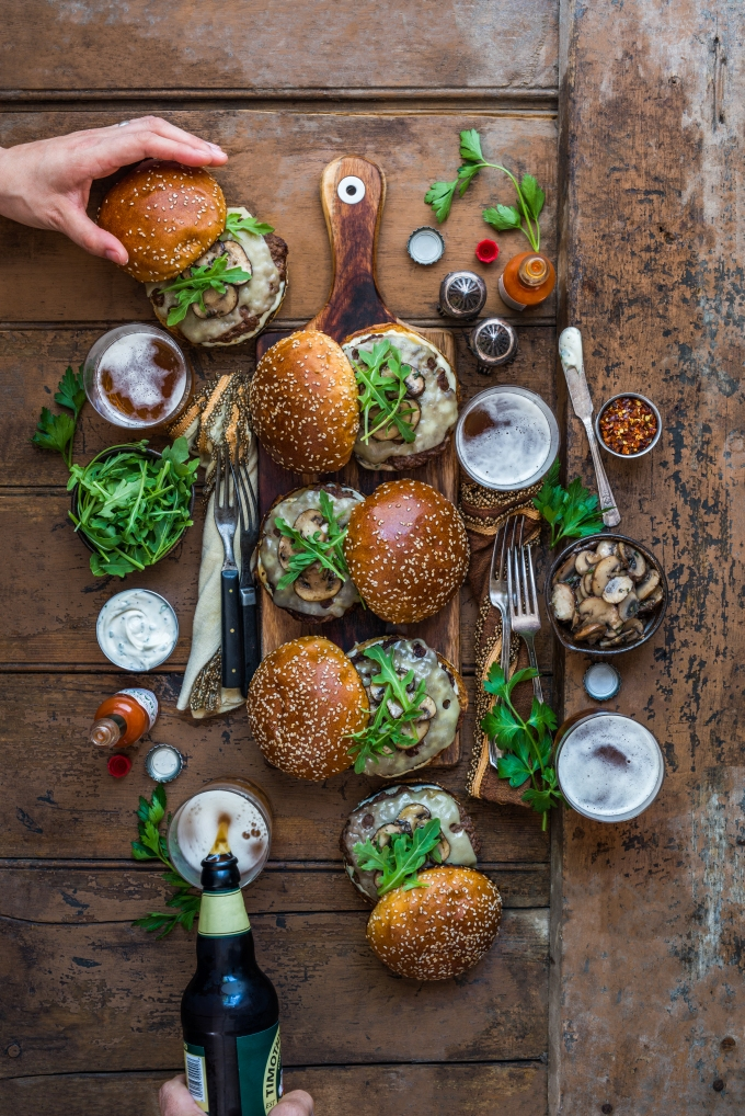 Mushroom Emmental Wagyu Burgers with Herb-Spiked Mayo