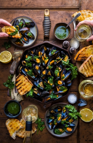 Traeger Smoked Mussels With SalsaVerde