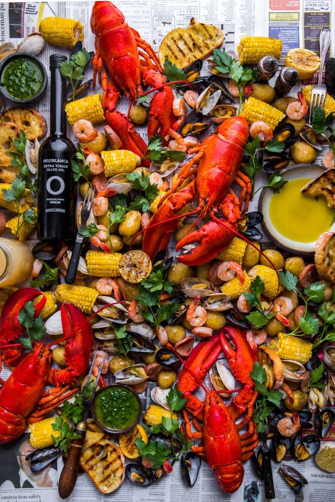 Summertime Seafood Boil with Grilled Rosemary Olive Oil Bread