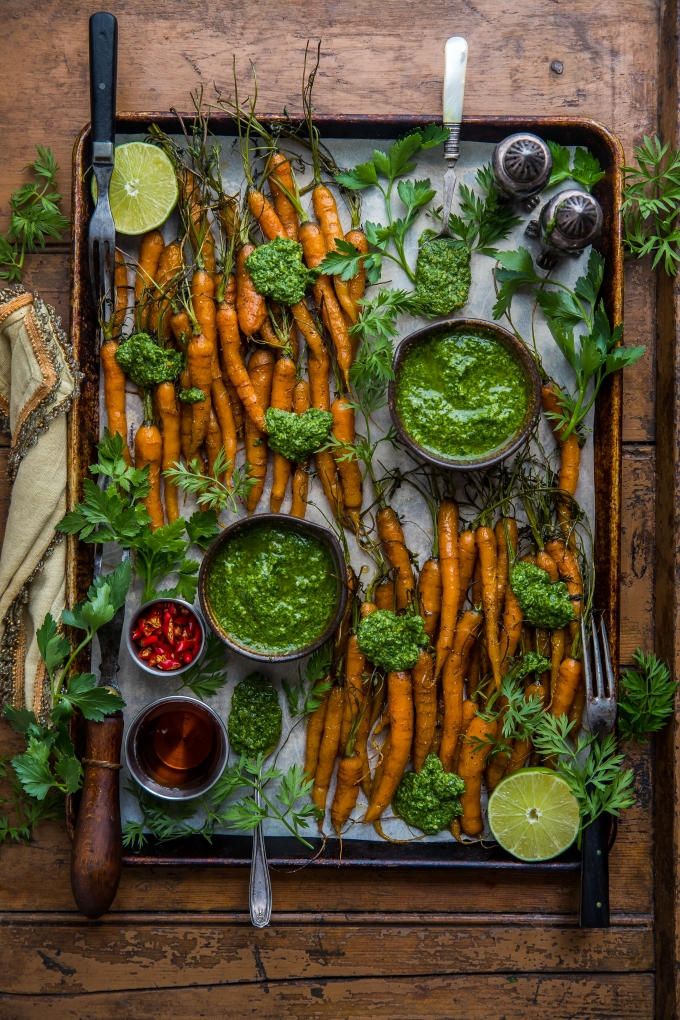 No Waste Maple Roasted Carrots with Carrot TopPesto