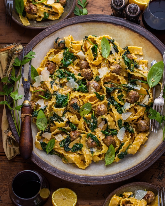 Lemony Garlic Mafaldine Pasta with Sausage Meatballs &Spinach