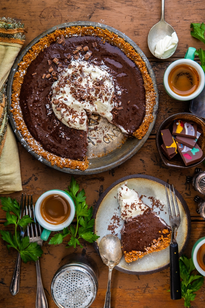 Chocolate Pudding Pie with Maple Whip