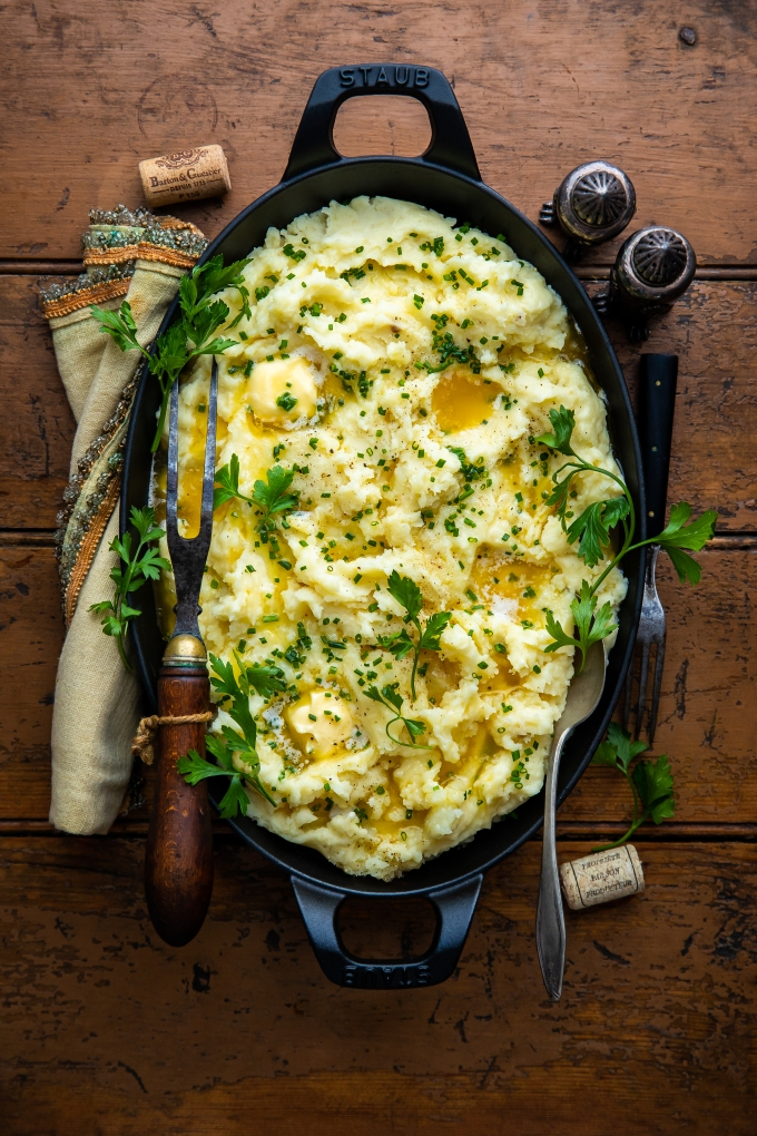 Roasted Garlic, Lemon, & Goat Cheese Mashed Potatoes
