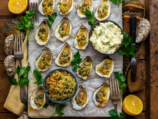 Baked Oysters with Spicy Garlic Compound Butter & Lemon ParmPangrattato