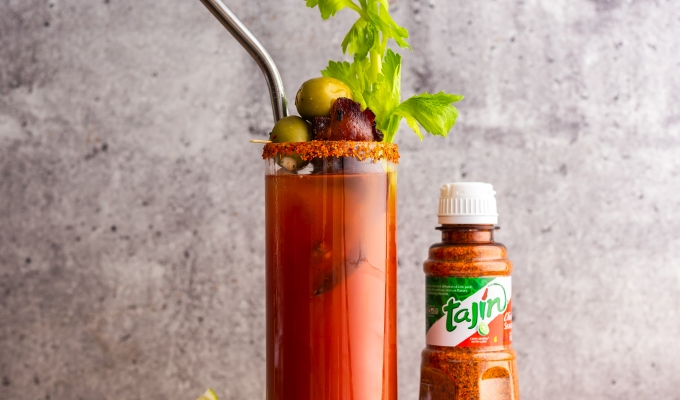 Bloody Mary with Candied Maple Bacon & Tajin
