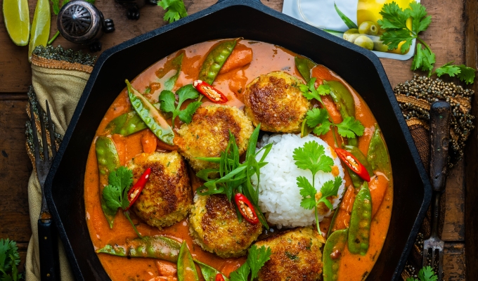 Lemongrass Red Curry with Tuna Meatballs