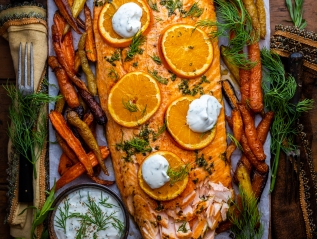 Tarragon Dill & Orange Roasted Side of Salmon with Citrus HerbSauce